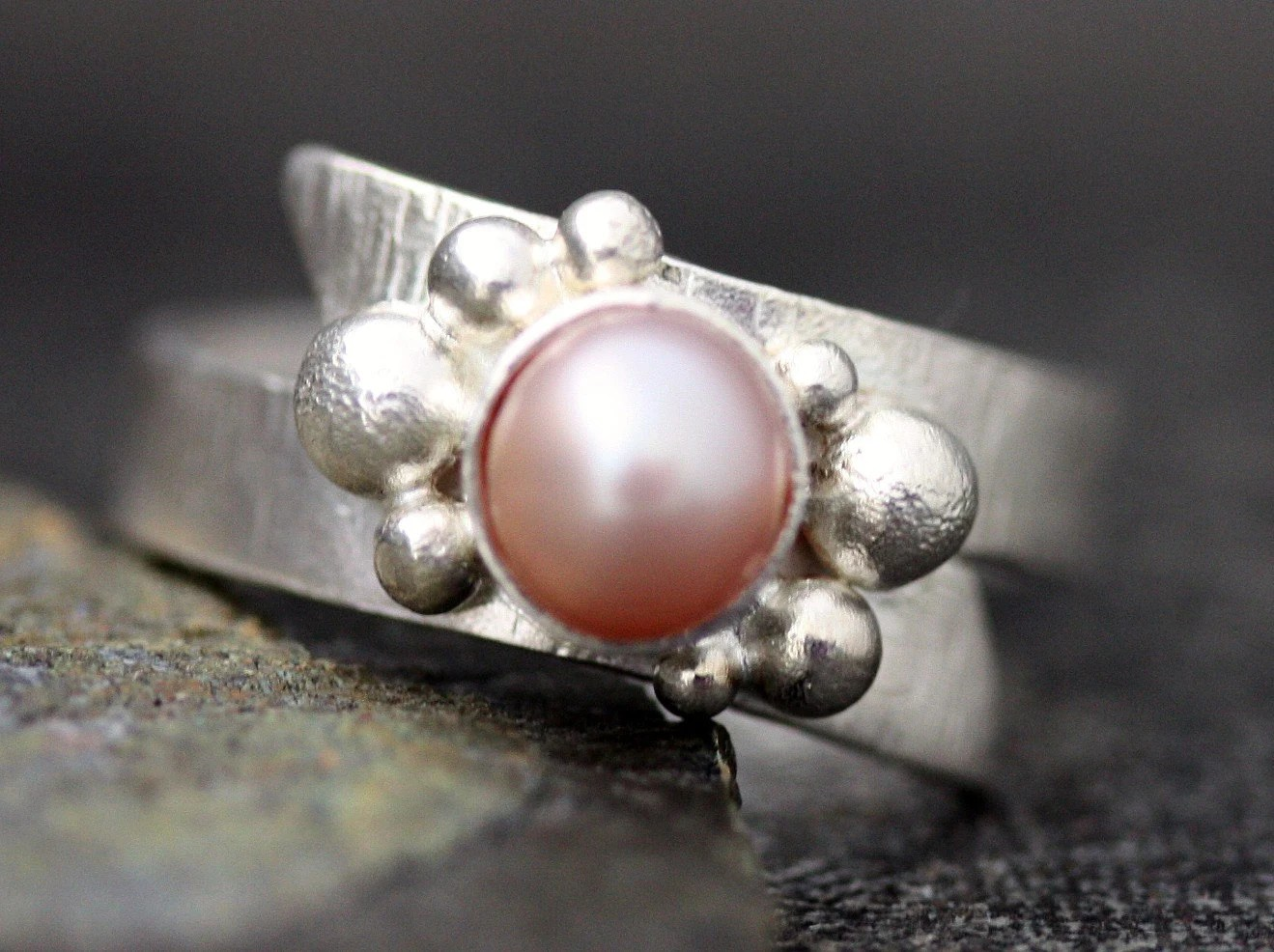 Colored Pearl in Textured Sterling Silver Ring- Custom Made