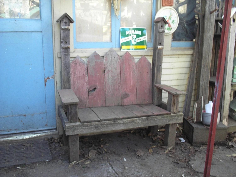 Barn Red Bird House Bench