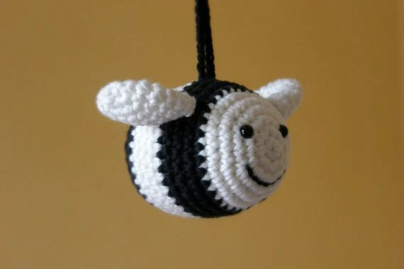 Organic cotton bee baby rattle