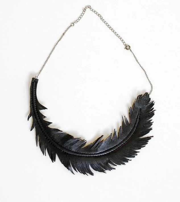 Black Feather Necklace by LoveAtFirstBlush