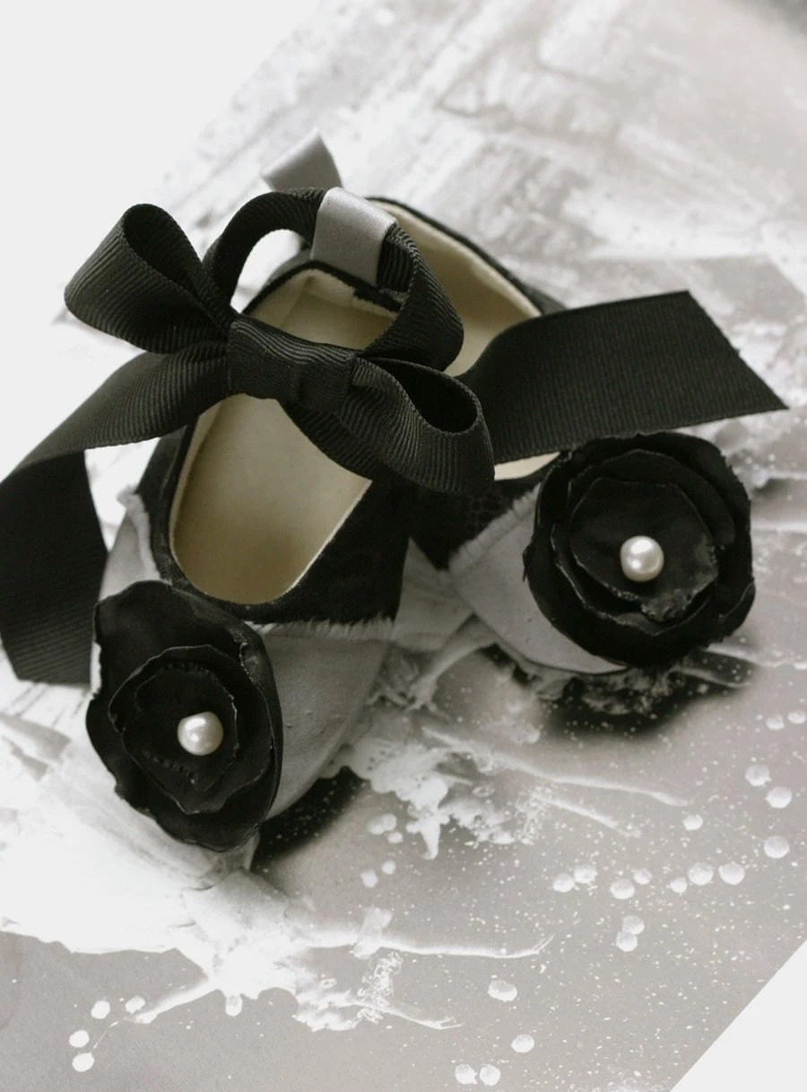 Couture Baby Shoes Ballet Slipper Black and Silver Baby Souls Coco Series