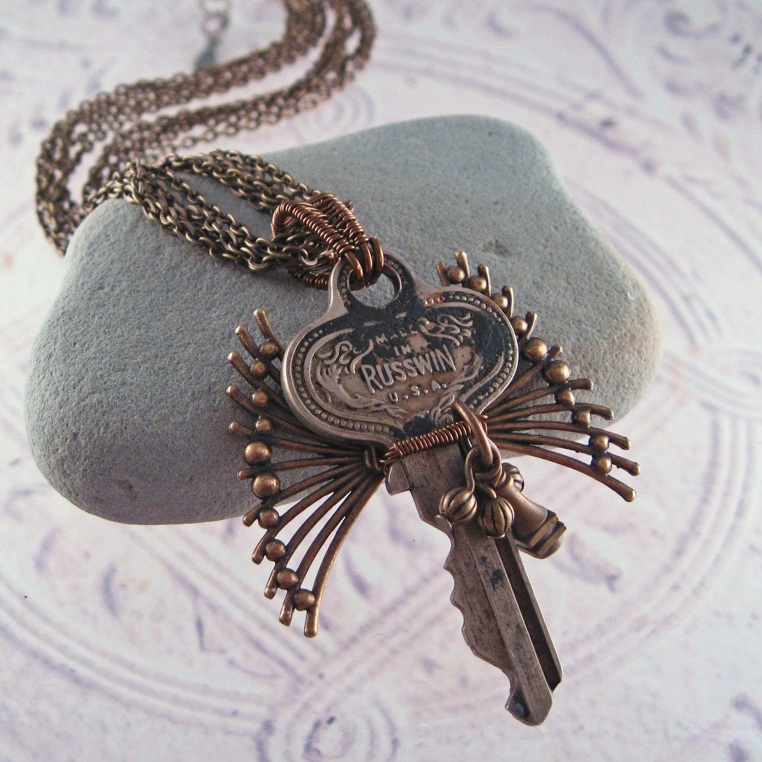 Recycled 1930's  Steampunk Key Necklace