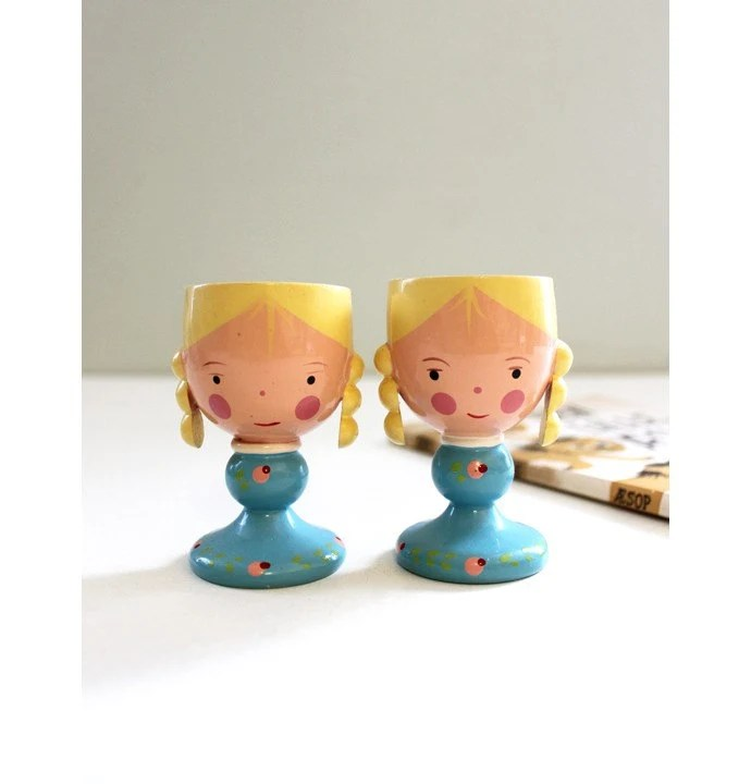 Vintage Wooden Egg Cup Girl Set