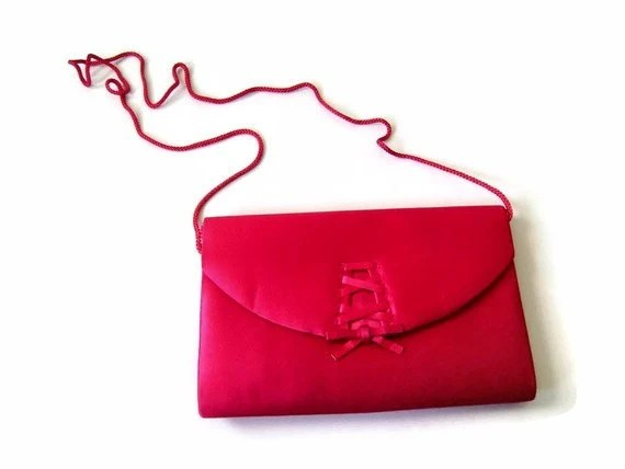 "1980s Girly Fuchsia Satin Purse or Clutch with ""Corset"" Inspired Detail by La Regale"