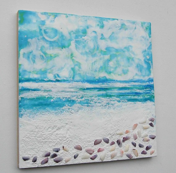 White Sand Beach  - Original Encaustic Painting