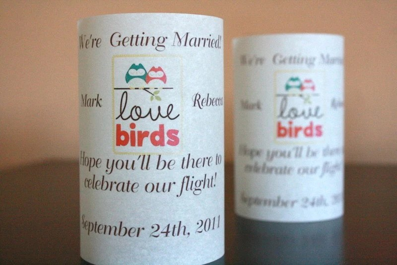 Love Birds Save the Date Luminaria
