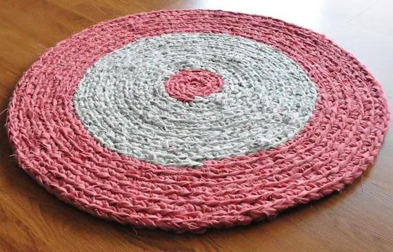 EKRA Pretty Pink Garden Round Crochet Upcycled Area Rug