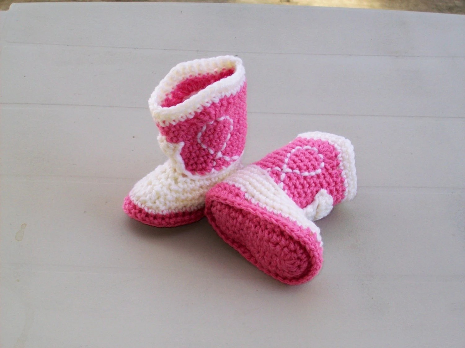 NEWBORN  -  Cowgirl Booties  -  Rose and Ivory