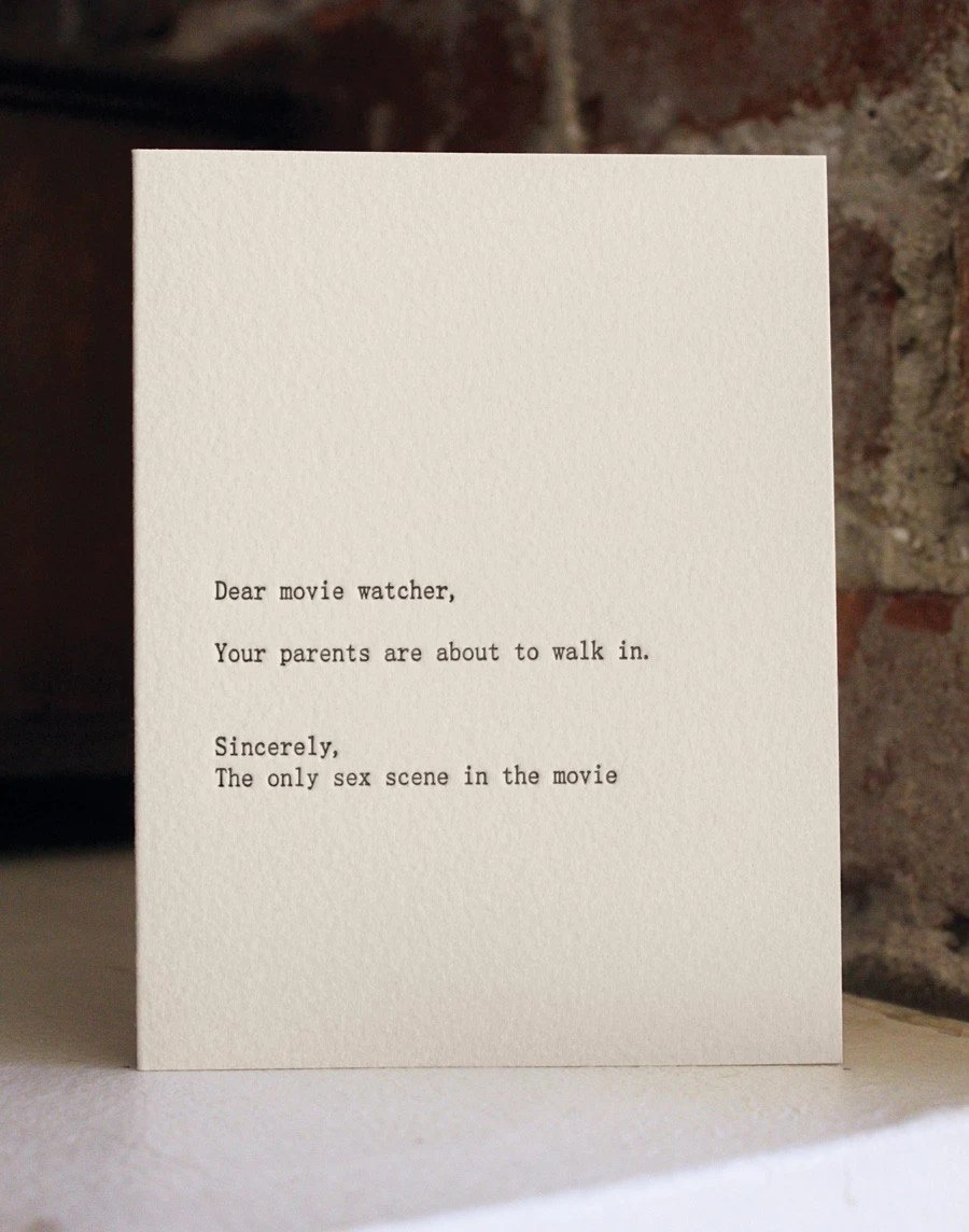 dear movie watcher. letterpress card