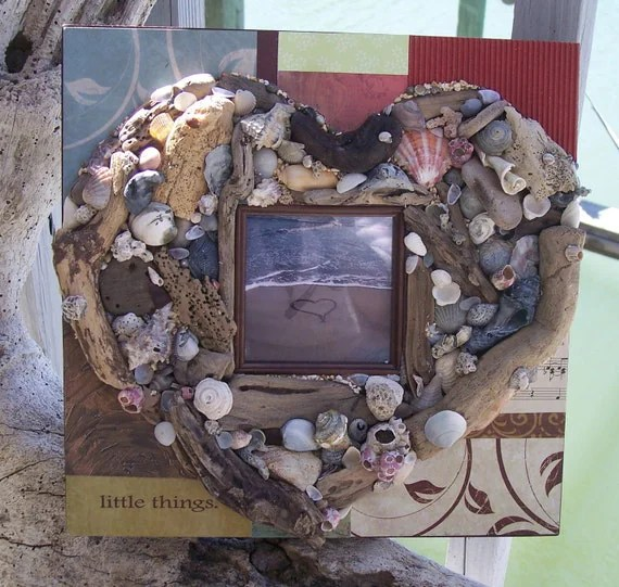 Handcrafted Patchwork Design Driftwood and Sea Shell HEART Picture Frame with original Fine Art Photography