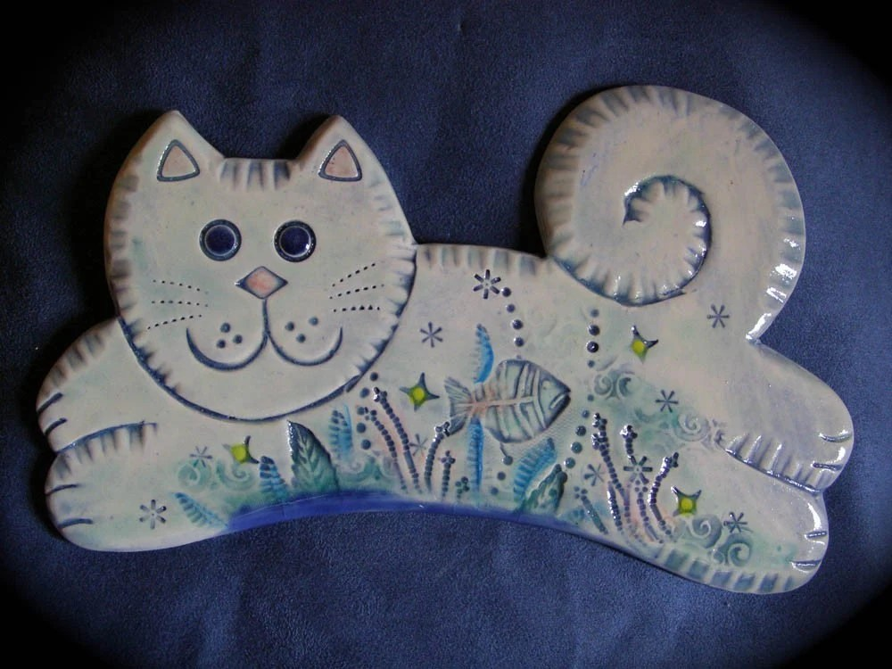 Jumping Cat Ceramic wall tile