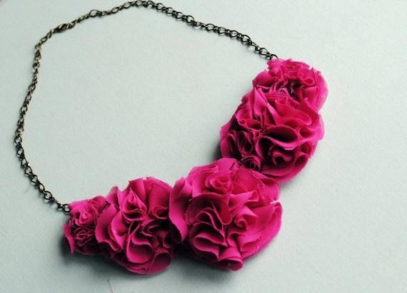 maxwell--honeysuckle ruffle flower statement necklace