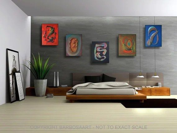 U N D E R V E R S E - New - Original 3D Impasto Abstract Artwork for Modern Bedrooms and Interiors - Multi Pieces by Laura Barbosa
