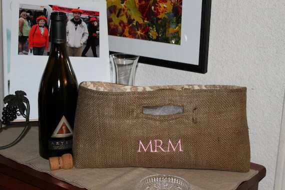 Not Your Usual Wine Bag Tote Monogrammed Initals
