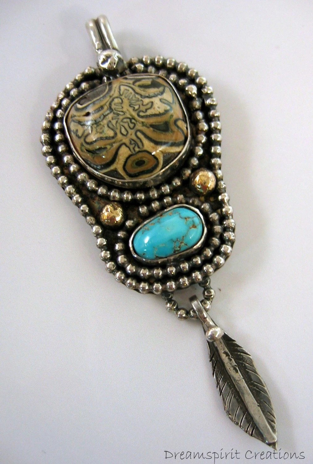 Sterling Silver Pendant with Petrified Horse Tooth and Turquoise Stones