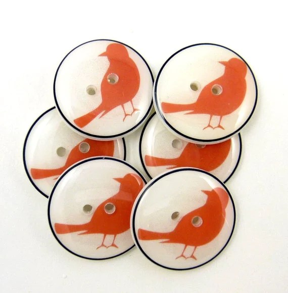 Buttons Handmade. Bird Buttons. Handmade Buttons (Burnt Orange Bird Silhouette Buttons). Six.  Handmade by me.  Washer and Dryer Safe.