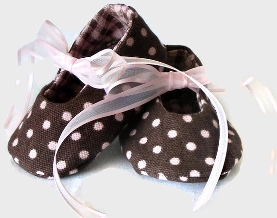 brown polka dot baby shoes