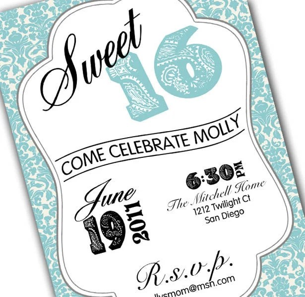 Sweet 16 invitation - paisley & teal or pink - 5x7 - printable