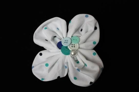 Barrette SALE Flower One of  a Kind Polka Dot