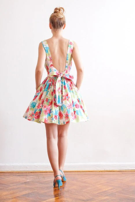 Low Back Multicolor Cotton Dress - Perfect Fit Guaranteed