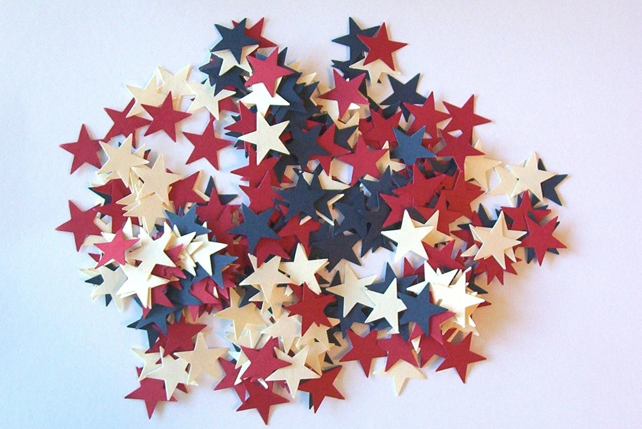 200 - Cranberry  Cream & Blueberry Stars Confetti / Embellishments.. America the Beautiful...