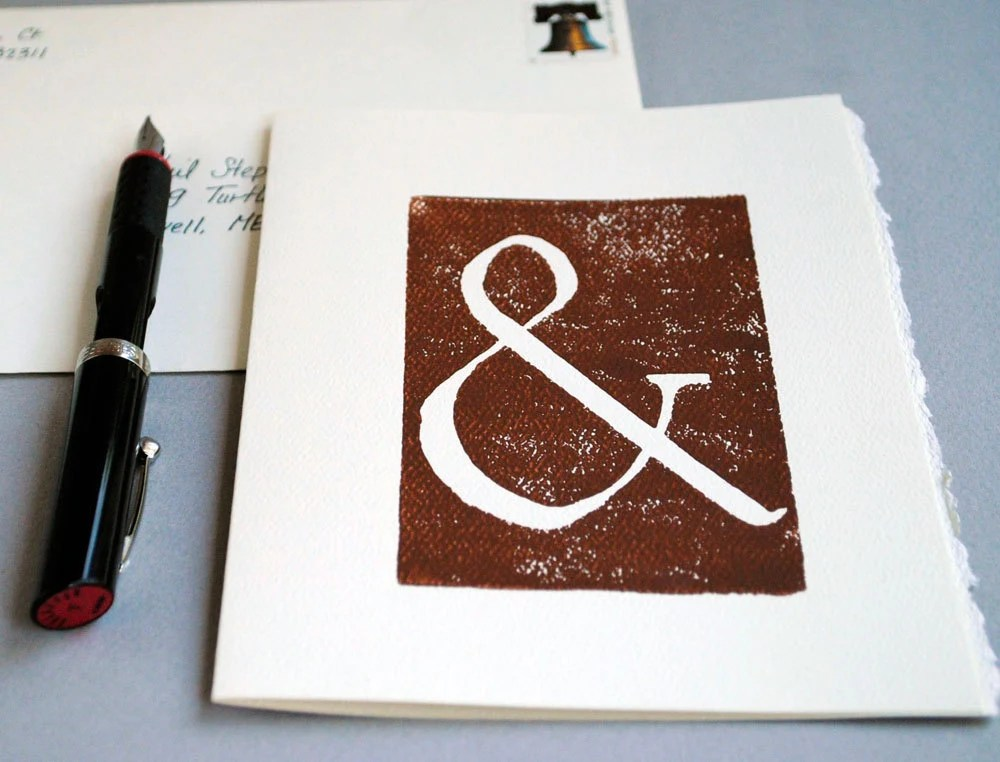 Ampersand Brown Block Print Card Linocut Notecard 5 x 7 inches