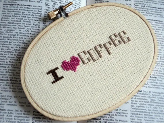 "Cross Stitch ""I love coffee"""