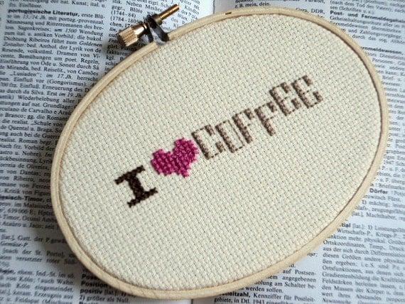 "Cross Stitch ""I love coffee"""