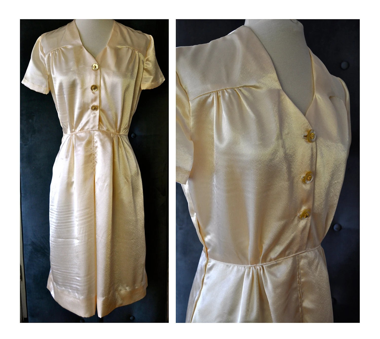 Glamorous 1940's Style Wedding Party Dress in Ivory Crepe Back Satin Made by Anjou