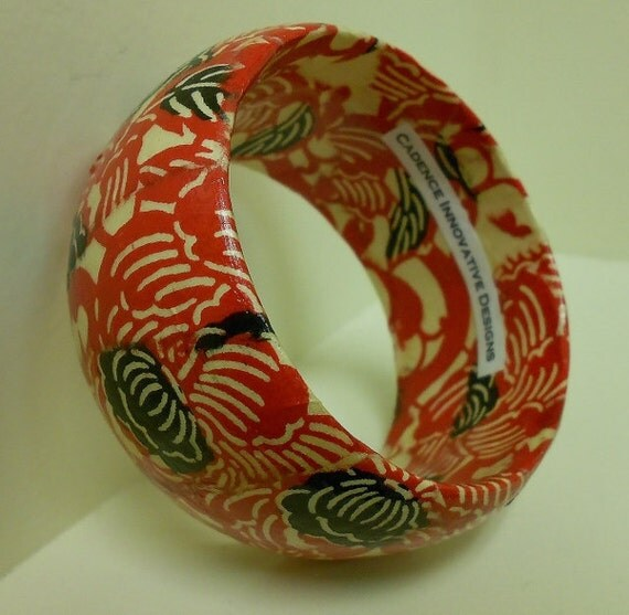 Red, Cream and Black Etched Floral Print Hand-Decoupaged Handmade Wood Bangle by cadencedesigns on etsy
