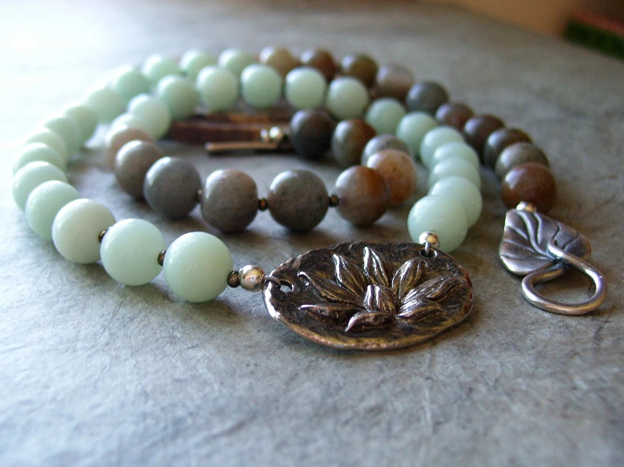 Enlightenment Lotus Green Aventurine Handmade Necklace