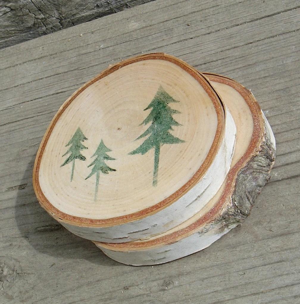 White Birch Wood Coaster - Set of 2
