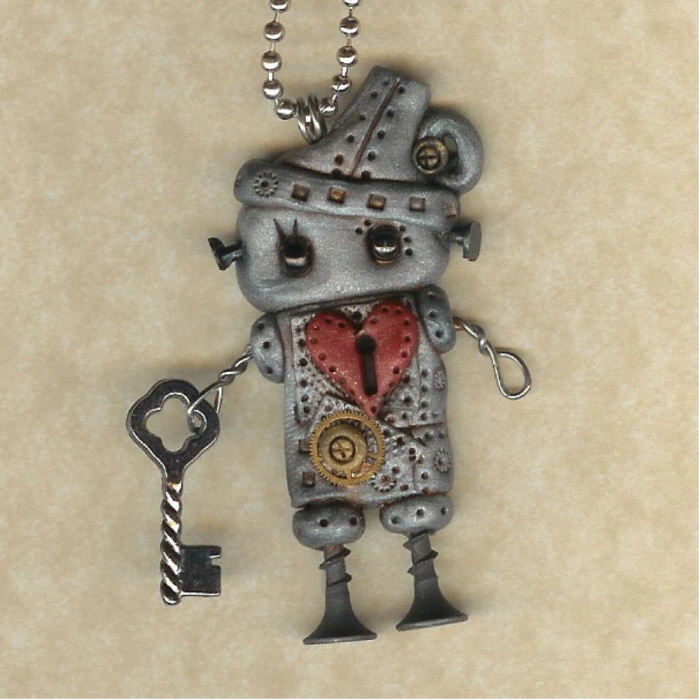 Steampunk  Tinman Robot Necklace
