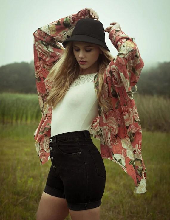 Afternoon Frolic-Silk Chiffon Rose Kimono Jacket