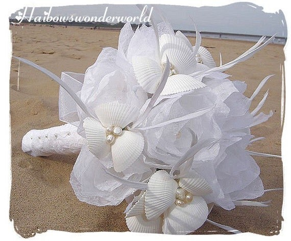 Made to order - SUMMER BREEZE Handtied Bridal Bouquet with totally handmade fabric Lotus. Matching boutonnier included.