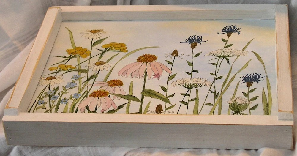 Hand Painted Cottage Wooden Tray with Wildflowers
