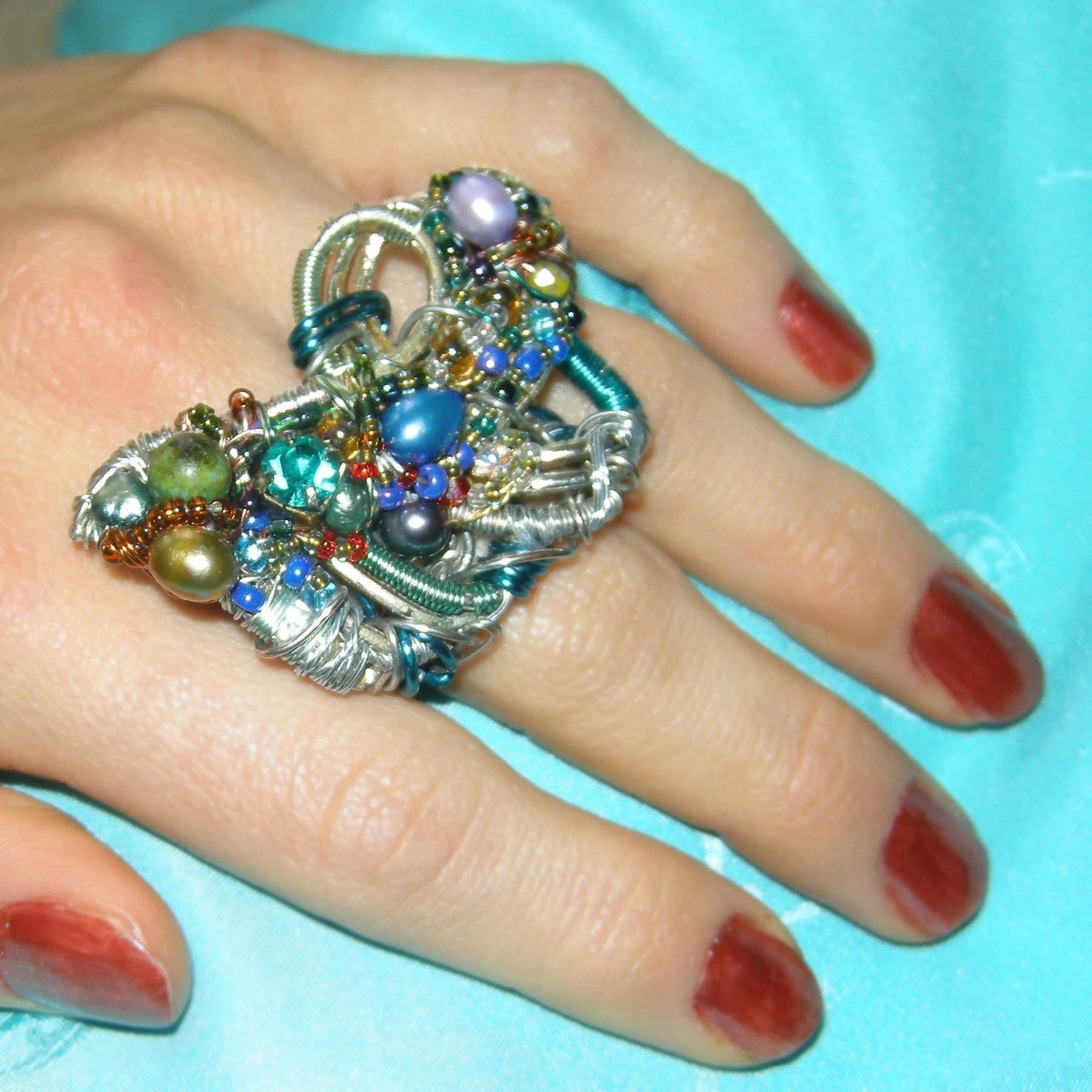 Azure  Encrusted Cocktail Ring