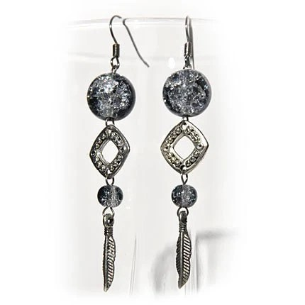 Earrings Grey Feather