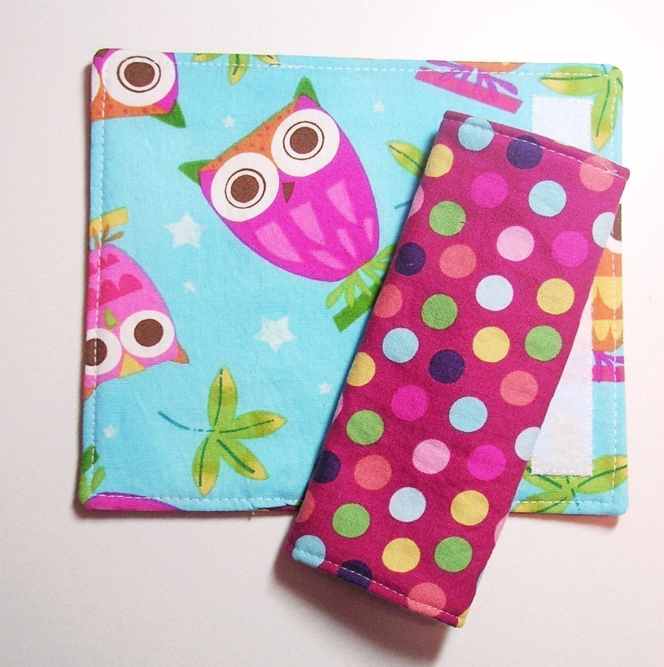 Reversible Car Seat Strap Covers - On A Whim Owls Aqua and Bright Polka Dots