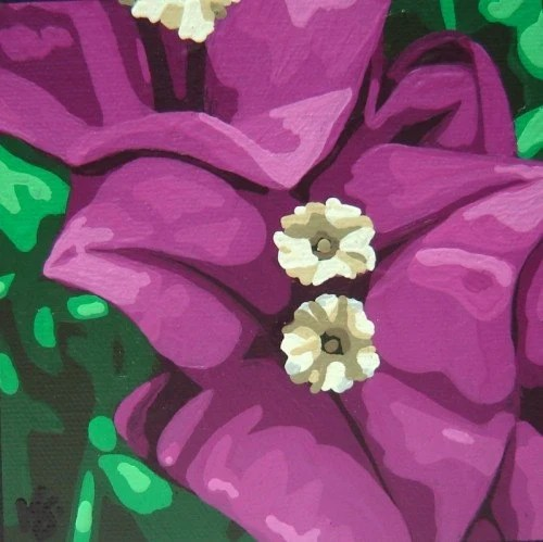 Bougainvillea Purple Magenta Flower Original Painting Art by Kris Jean KJ EBSQ
