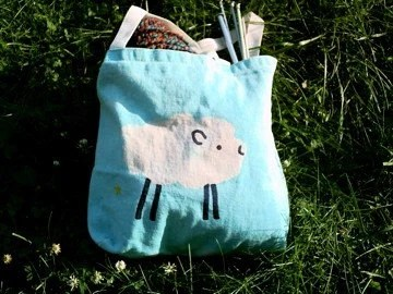 Turquoise blue SHEEP batiked medium small canvas tote bag