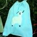 FREE SHIPPING turquoise blue batik ALPACA mini 8x10 drawstring bag NO TEXT