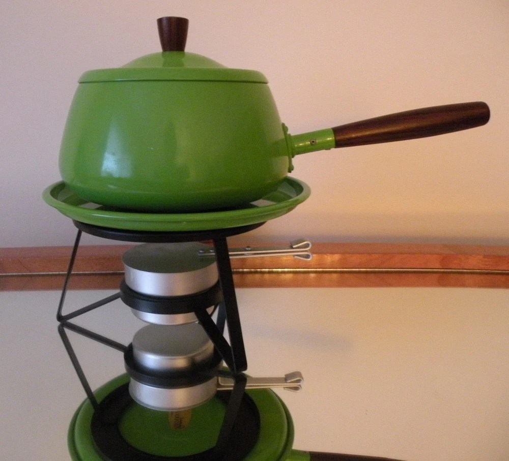 Vintage Bright Green Fondue Set