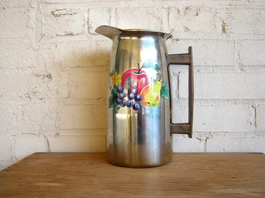 Vintage Mid Century Modern Chrome Coffee Pot Urn with Vintage Fruit Decals and Teak Wooden Handle