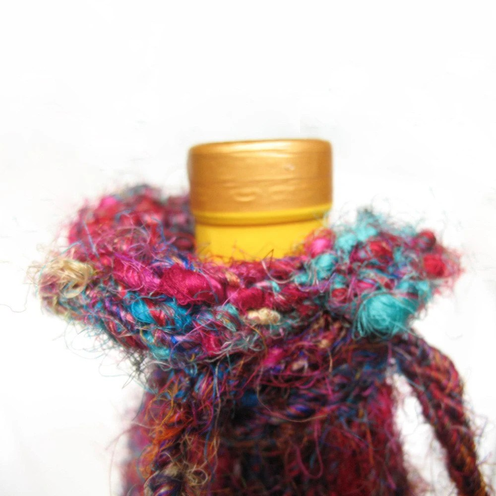 Eco friendly wine bottle sleeve by Impossibly Alice on Etsy
