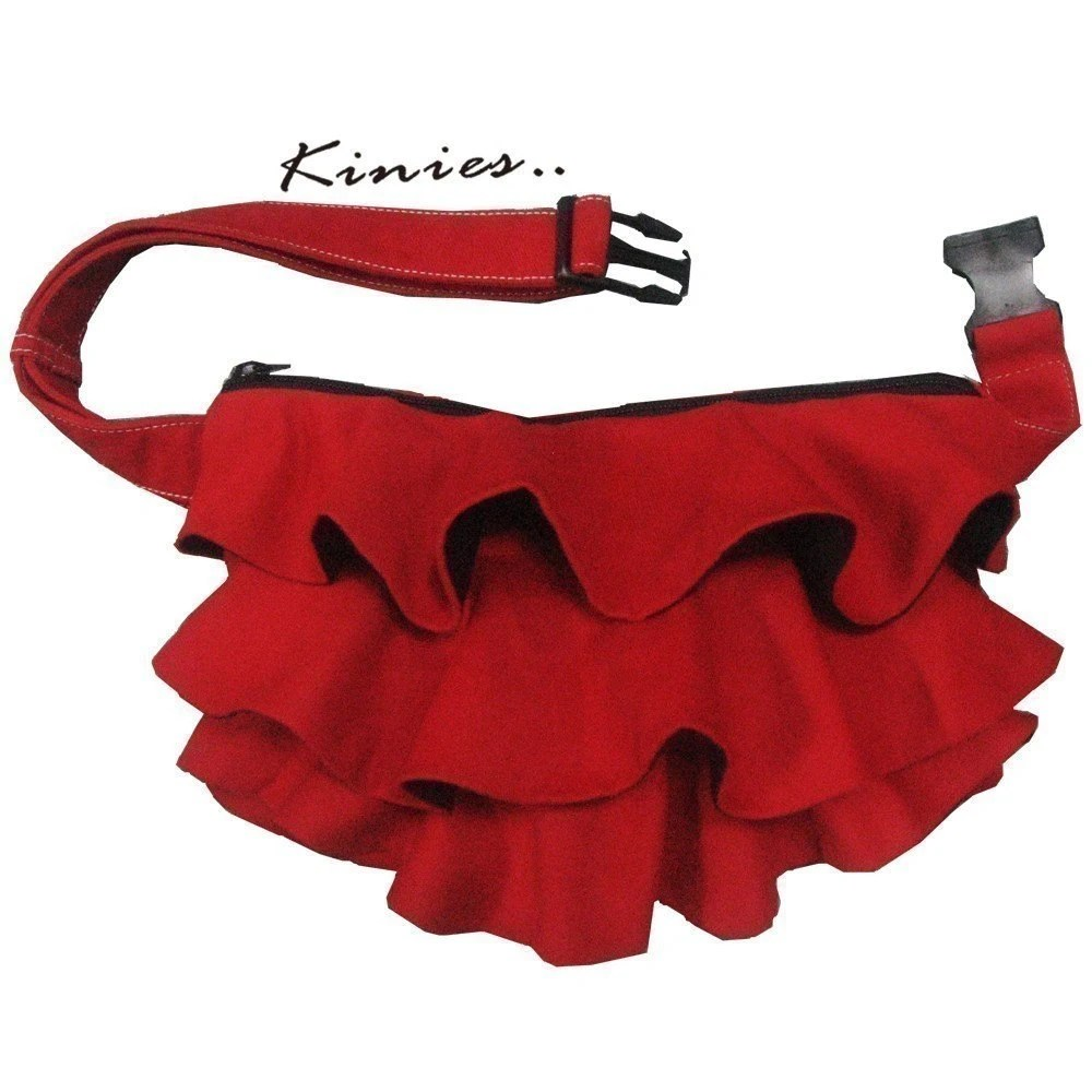 Red Kinies Ruffled Waist Purse