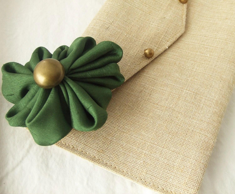 Green Flower and Cream Clutch