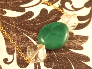 Green Pebble and Crystal Lucite Pendant Gold Necklace