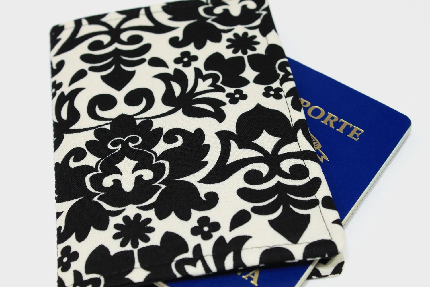 passport cover black and white