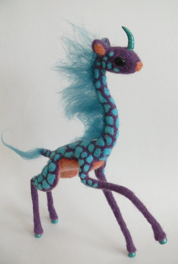 Kirin giraffe, familiar oddlings, needle felting